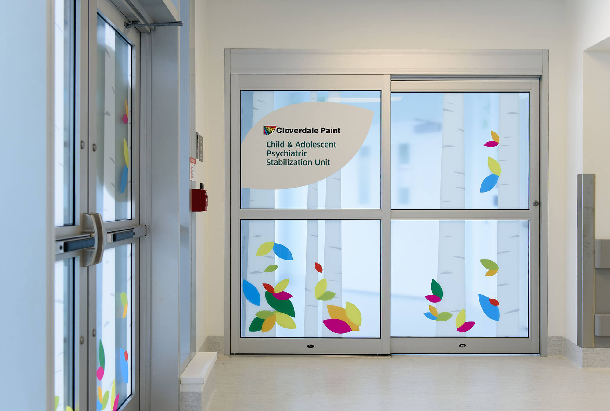 Interior window graphics on optically clear film