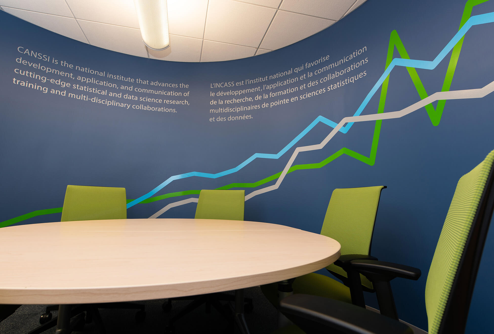 Adhesive graphics on a curved wall