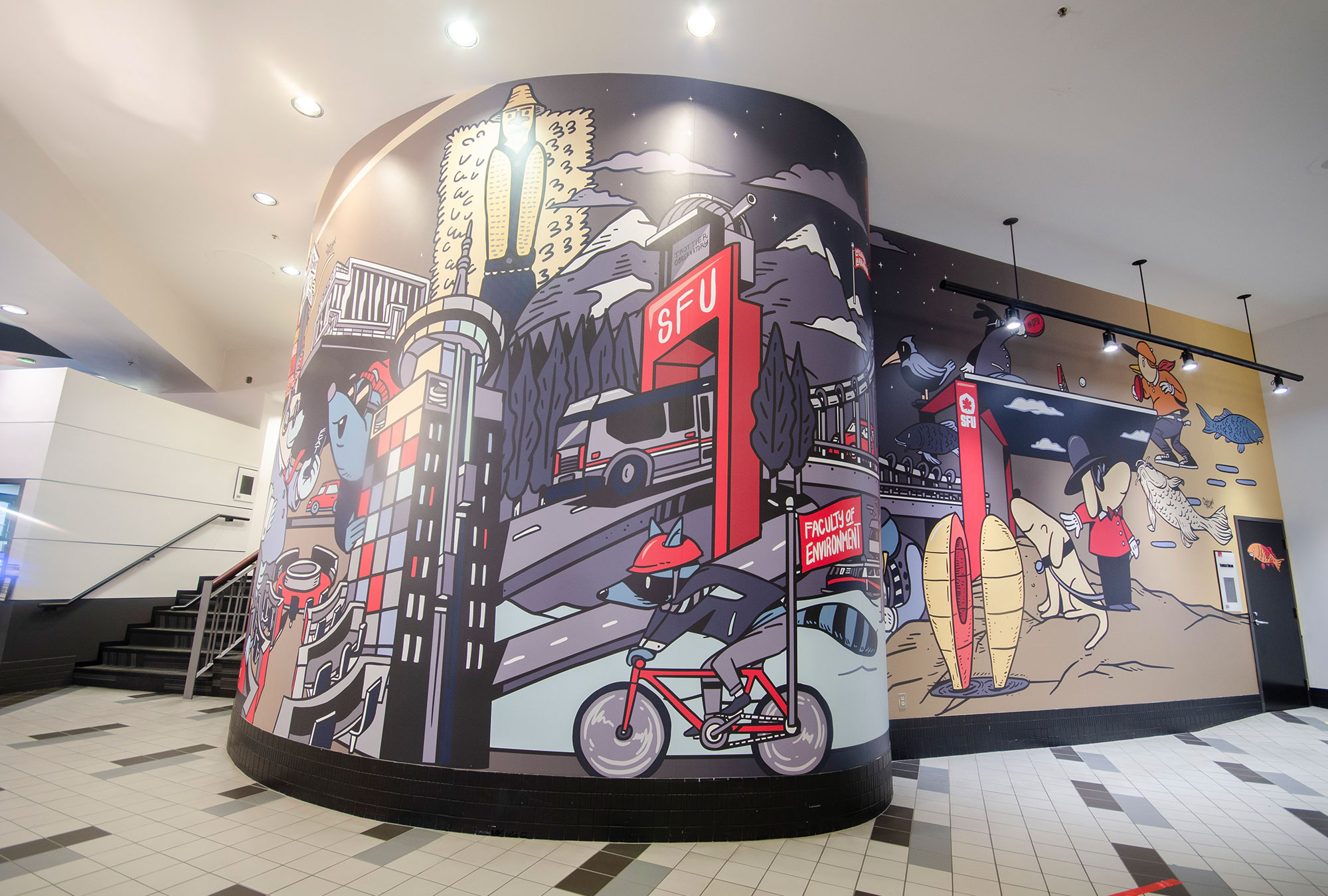 Curved wall with colourful graphics for SFU