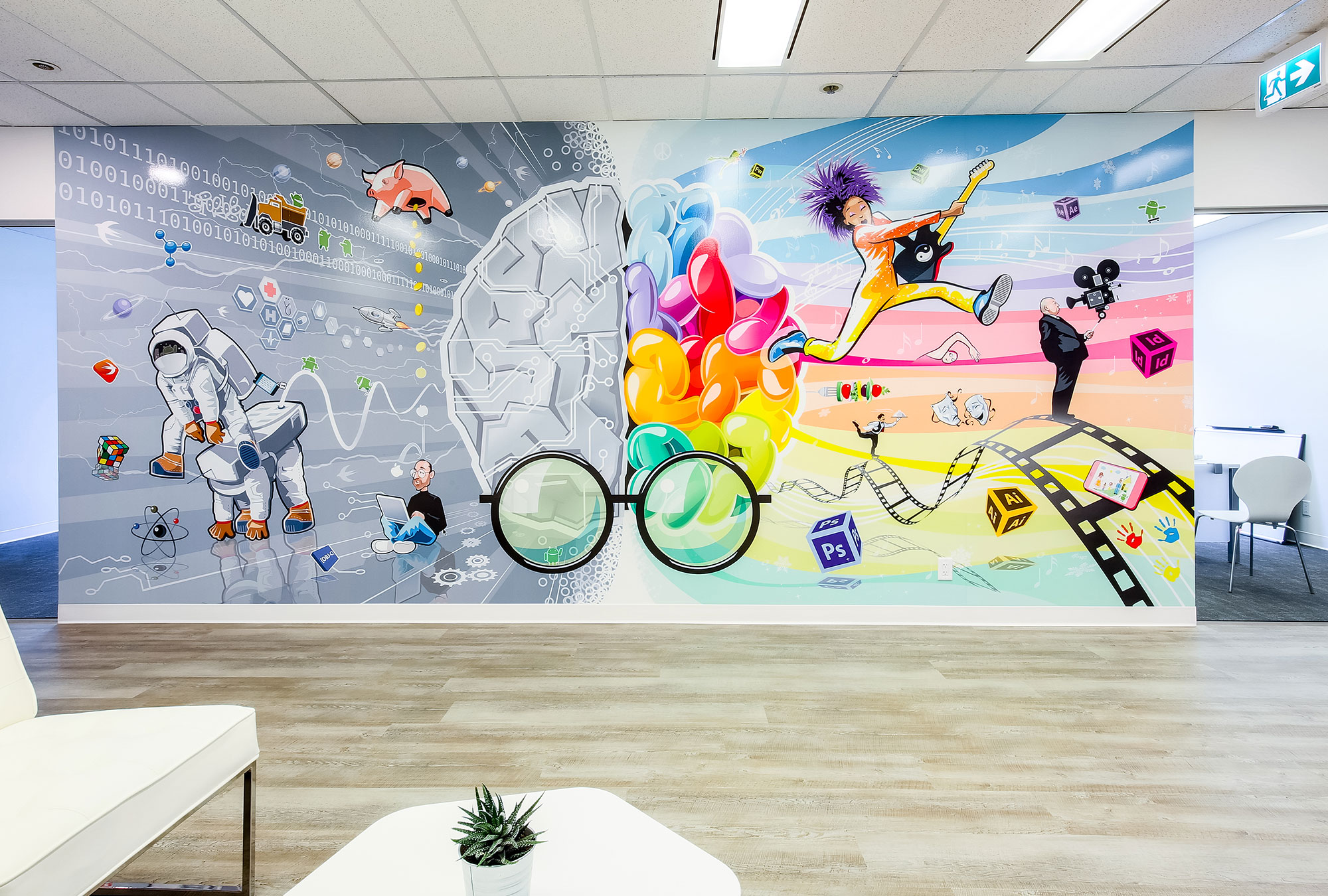 Colourful wall graphics with lustre overlaminate