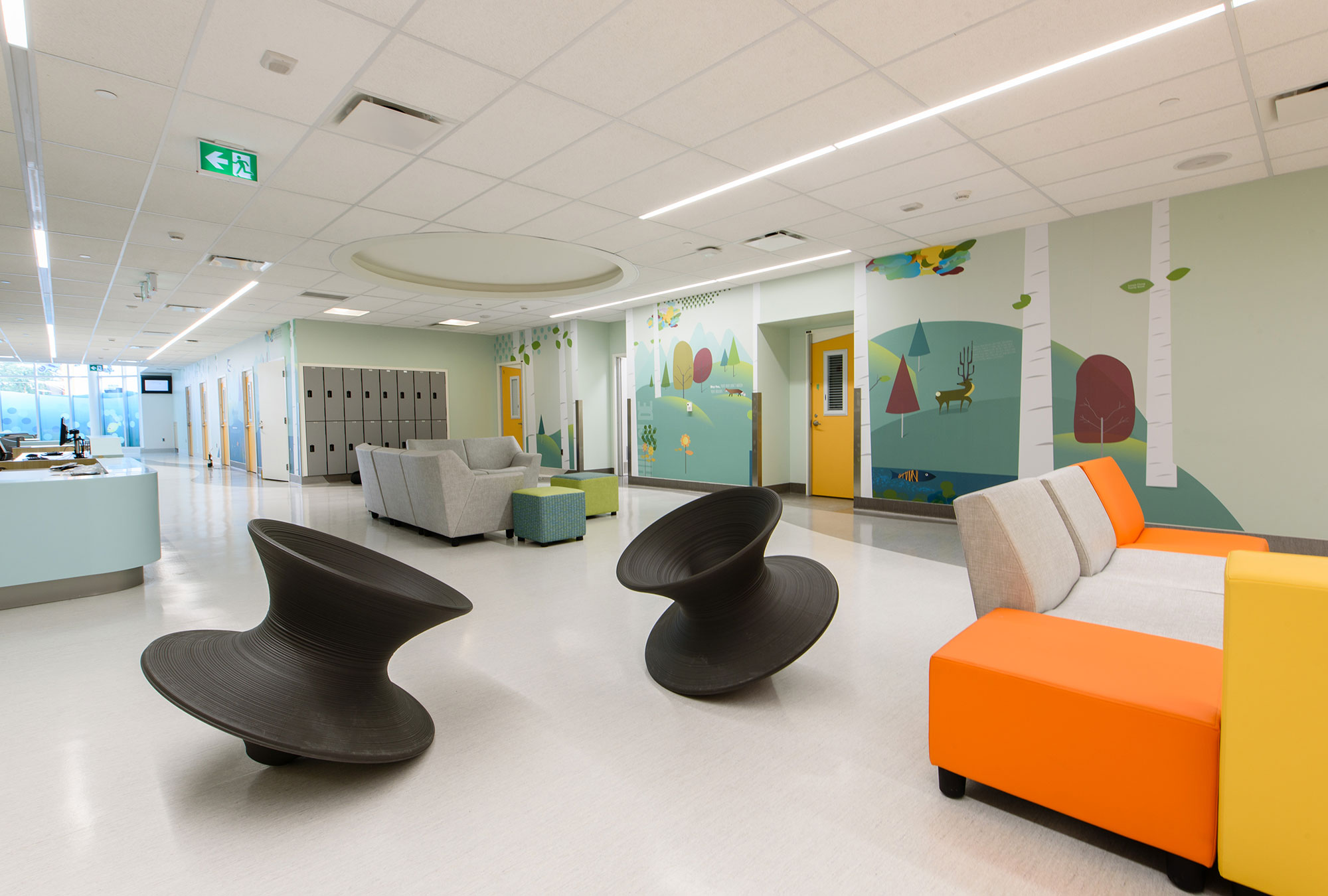 Clean and playful institutional wall graphics