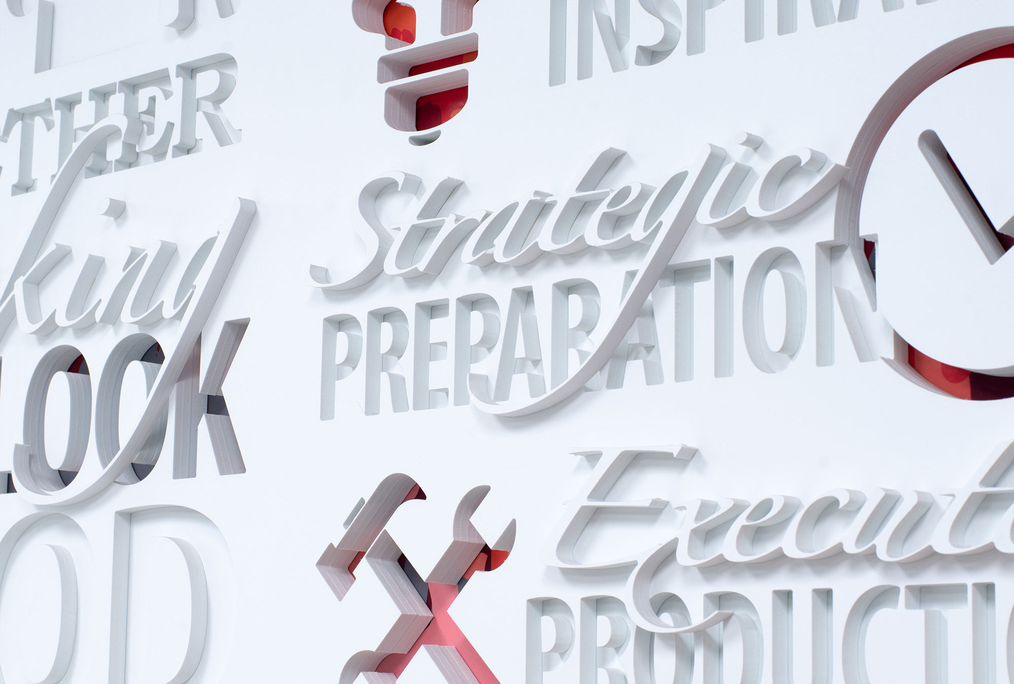 Display wall with 3D Lettering and intricate graphics