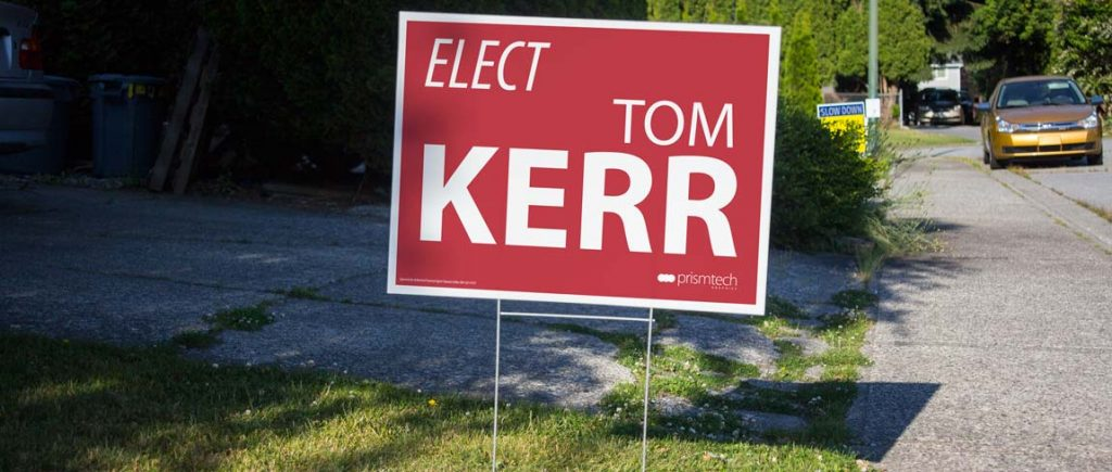 Election sign on lawn